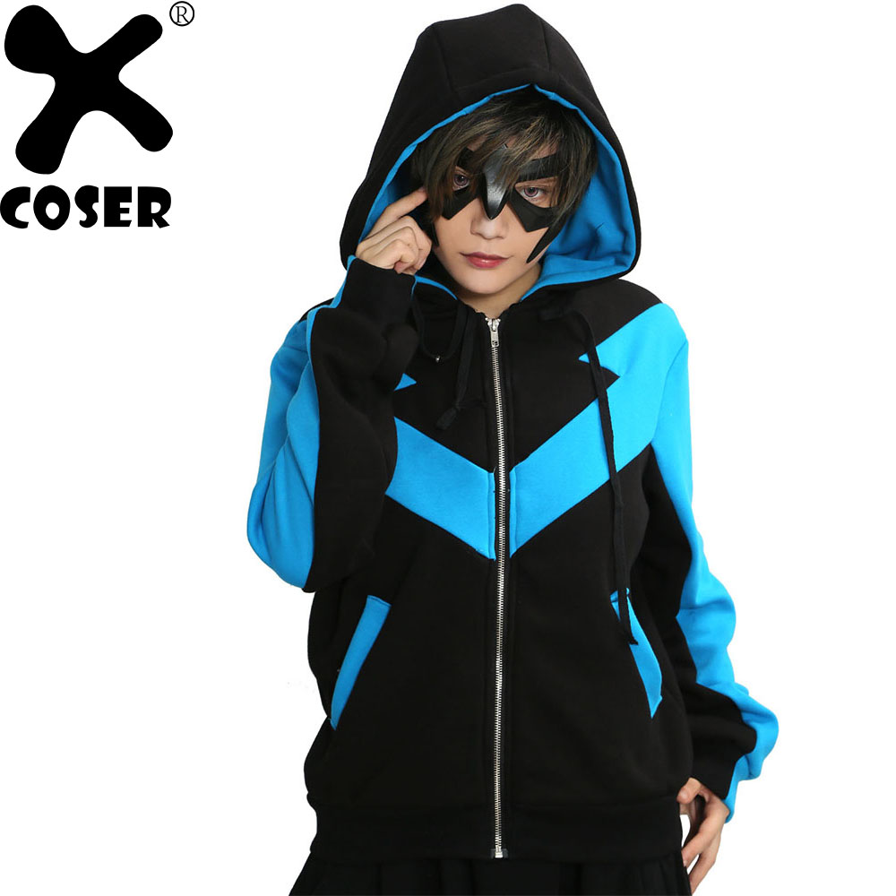XCOSER DC Comics Batman Nightwing Hoodies Sweatshirts Anime Cosplay Costume Warm Cotton Hooded Hoodies Coat For Adult Women Men