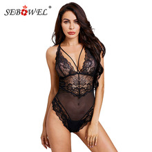 SEBOWEL Sexy Sheer Mesh Bodysuits for Woman Floral Lace Sleeveless 2019 Ladies Black Body Top Clothes Female Backless Bodysuit