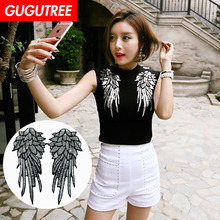GUGUTREE embroidery Sequins big wings patches feather badges applique for clothing XC-4