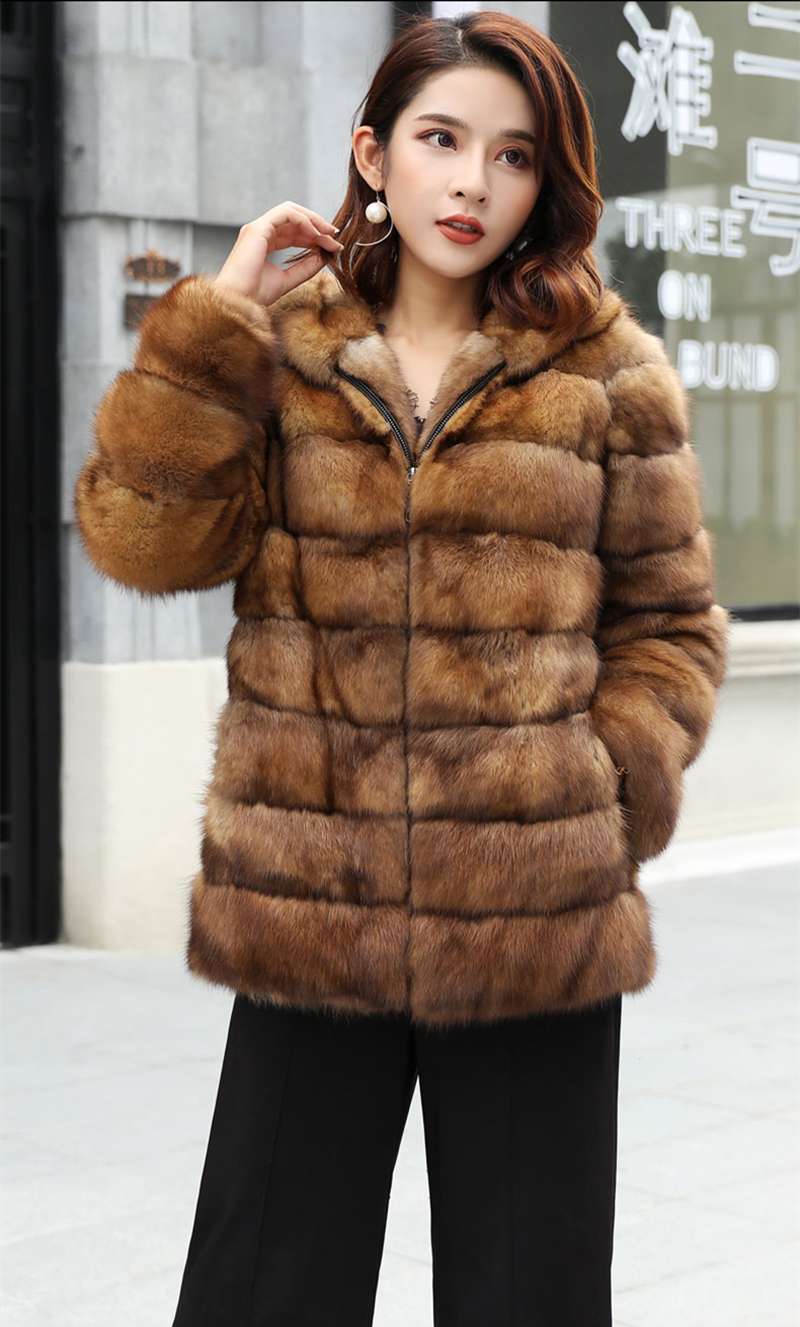 Fashion Style Real Sable Whole Mink Fur Women Slim Medium Coat With Hood Martes Zibellina Mink Fur Zipper Jacket Porpular Mink Fur Real Fur
