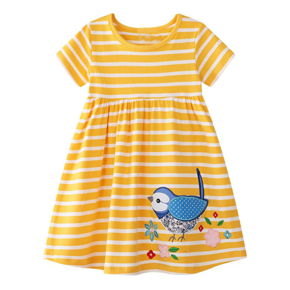 Baby Girl Dress with Animal Applique Vestidos Striped Cotton Kids Unicorn Party Dresses for Girls Clothes Princess Costume 2-7Y
