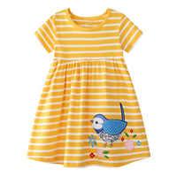 Bébé Fille Robe avec Animaux Appliques Robes Rayé Coton Enfants Licorne Robes De Soirée pour Filles Vêtements Princesse Costume 2-7Y