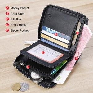 Image 4 - LAORENTOU Men Wallet Genuine Leather Card Holder Man Luxury Short Wallet Purse Zipper Wallets Casual Standard Wallets for Male