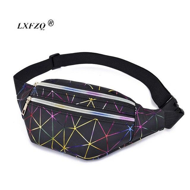 Женские розовые голографические поясные сумки, новые поясные сумки, женские поясные сумки, черные геометрические поясные сумки, лазерная нагрудная сумка, сумка формы «банан»