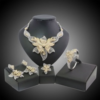YULAILI Free Shipping Fashion Flower Design Gold Color Brass Wedding Ladies Costume Jewelry Sets