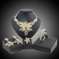 Yulaili Бесплатная доставка Мода цветок Дизайн золото Цвет латунь Свадебные Дамы Бижутерия комплекты