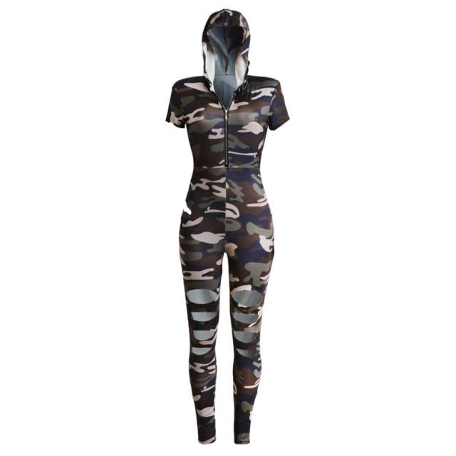 Sexy Women Hooded Short Sleeve Camouflage Bodycon Jumpsuit Long Hole Trousers High Quality Drop Shipping WNov1