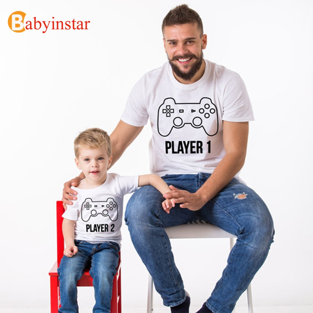 Babyinstar Fashion 2017 Family Look Funny Player Printed Summer Short Sleeve T-shirt Game Handle Pattern Family Matching Outfits