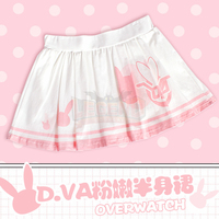 D Va Skirt Dva Cosplay Pleated Skirt Lovely Preppy Style Cosplay Adult Costume Casual Wear Daily