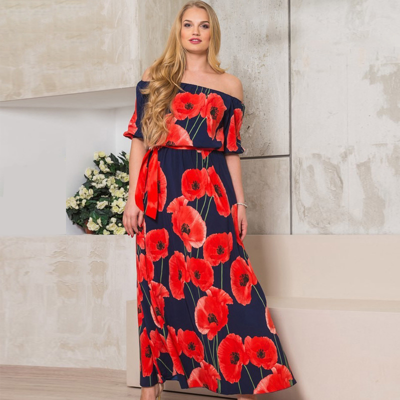 1adf4b7da780 Women Summer Dress 2017 Online Shopping India Slash Neck Beach Dresses  Summer Bohemia Style Printing Flower Maxi Dress L 6XL-in Dresses from  Women s ...
