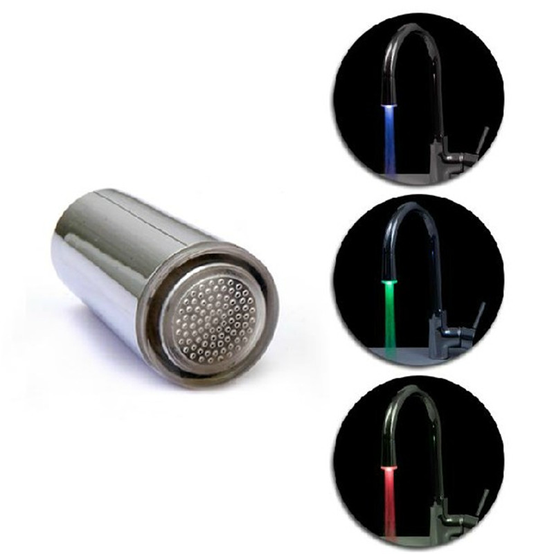 100pcs/lot Green/Red/Blue LED faucet,Temperature Sensitive,LED faucet light ,dropshipping Aerator wholesale