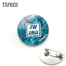 TAFREE 2019 JW.ORG Brooches Badge Glass Green Plant Cabochon Dome Jehovah's Witnesses JW Pins Brooch Jewelry JW84(China)