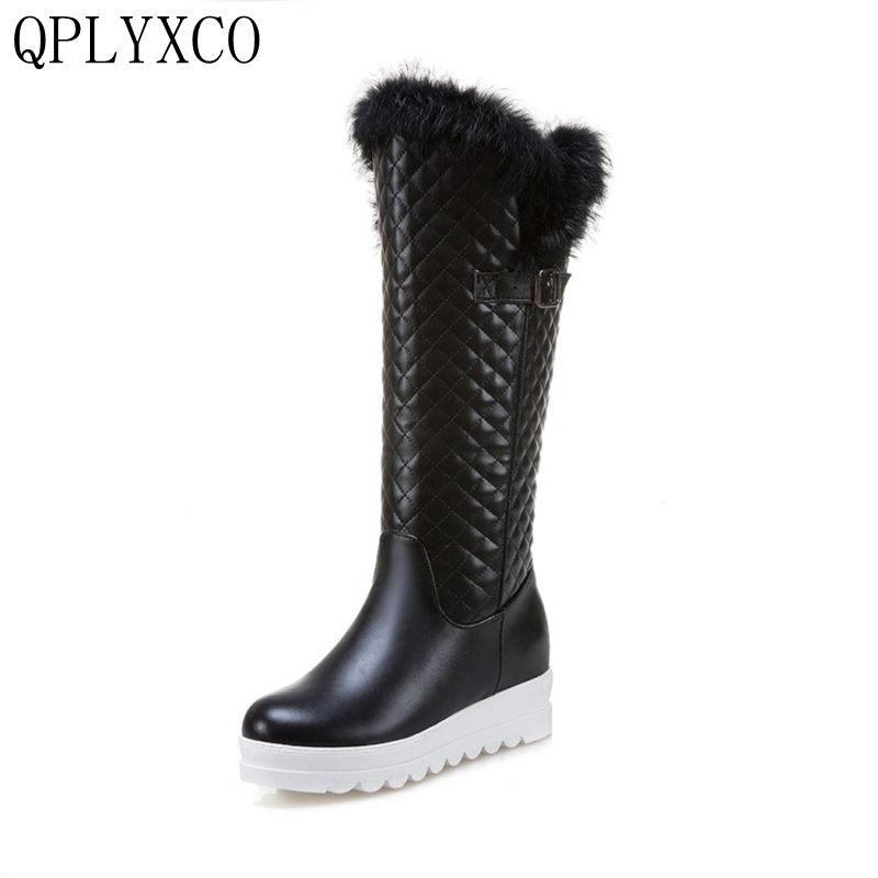 QPLYXCO Fashion New big Size 33-43 Russian women long Boots Winter Warm Plush Boots Ladies Knee high snow boots Shoes 993-6 chrome front grille for honda civic 2017 car front grille cover trim abs chrome accessories for honda civic 2016 chrome grilles