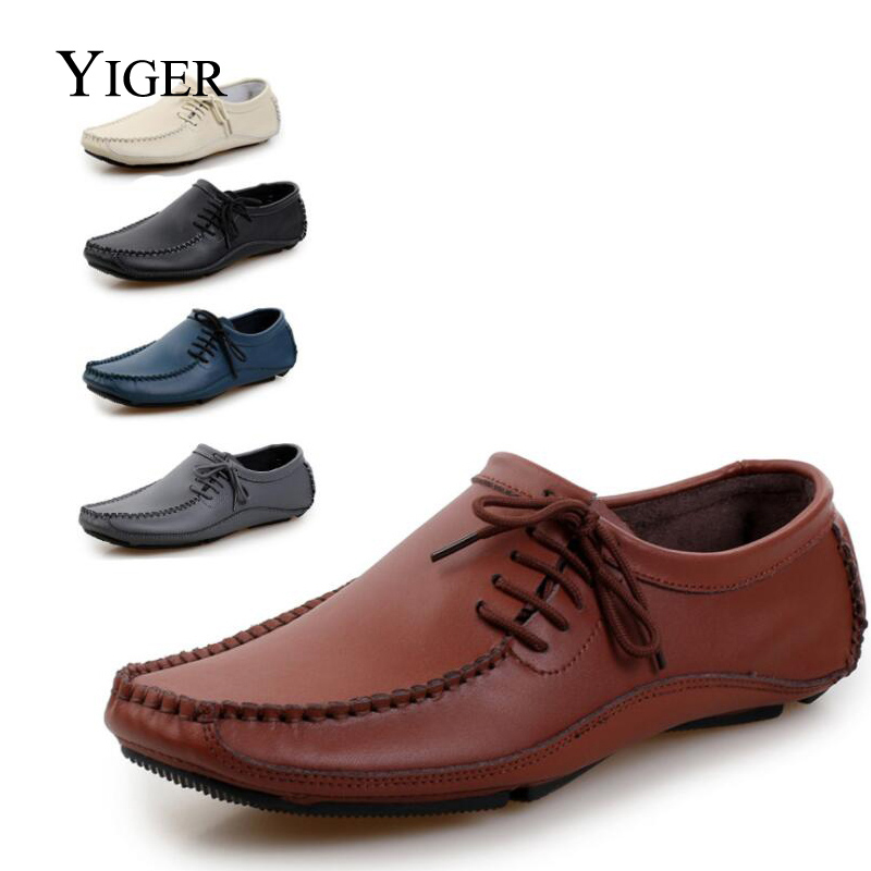 YIGER NEW Vīriešu lielā izmēra zirņu kurpes Ikdienas īstas - Vīriešu apavi