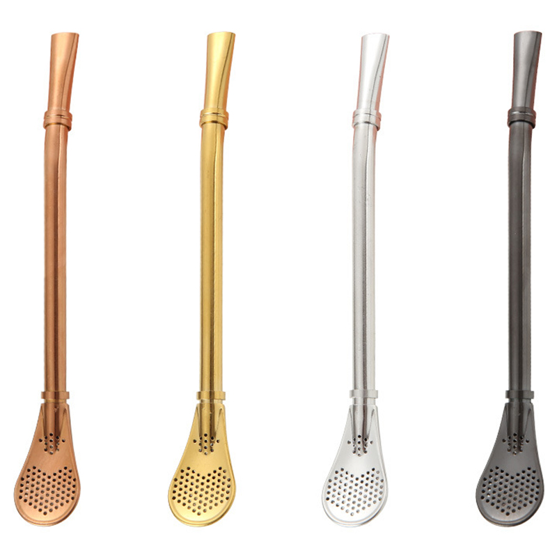 Stainless Steel Stirring Coffee Spoons Teaspoon Small Mini Tea Spoon Tableware Straw Spoons With Filter in Spoons from Home Garden