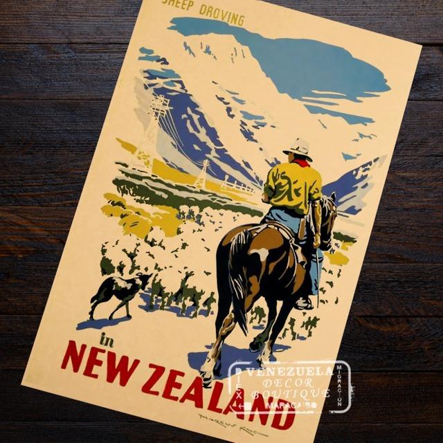 Fascinating Girl New Zealand NZ Visit Landscape Travel Retro Vintage Poster Decorative DIY Wall Art Home Bar Posters Decor