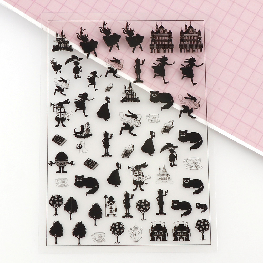 5 Sheets  Gril Birds Birdcage Style Scrapbooking Sticker Transparent DIY Resin UV Mold  Micro Stickers Jewelry Filling Tools