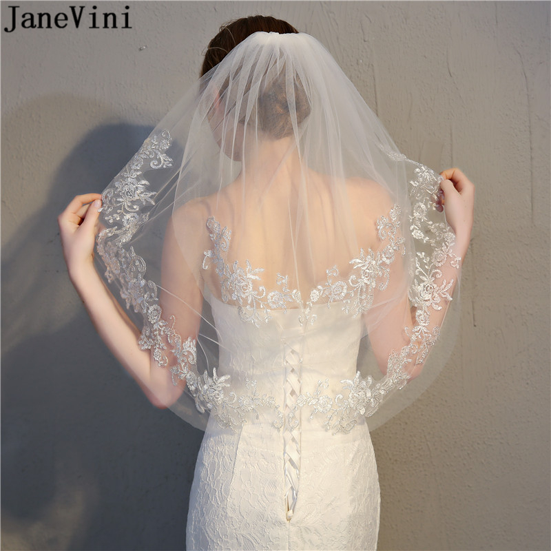 JaneVini Elegant Ivory Short Veil for Bride Two Layer Lace Appliques Edge Elbow Length Bridal Veil with Comb Wedding Accessories