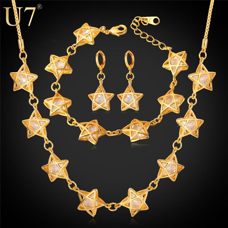 5c8822159cec U7 estrella elegante joyería Set para mujeres Accesorios DE BODA cúbicos  zirconia oro color collar Pendientes pulsera Sets s651