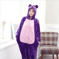 Latest Fall Winter Fashion Flannel Couples Mounted Pajamas Cosplay Cartoon Animal Purple Cat Men Women Hoodie