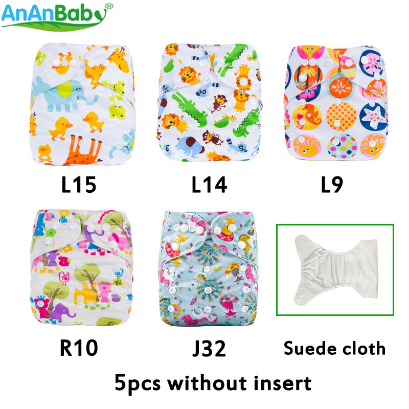 (5Pcs Per Lot)Ananbaby Machine Prints Pocket Cloth Diaper Breathable Cloth Nappies Without Inserts