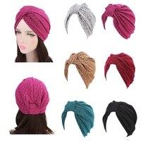 Womens Stretch Muslim Turban Print Flower Hair Loss Wrap Cap Chemo Hat Knotted
