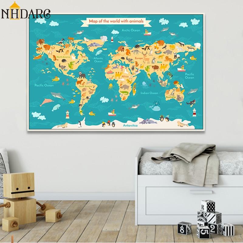 World Map Rabbit Head Cartoon Canvas Poster Nursery Art Print Bedroom Decoration