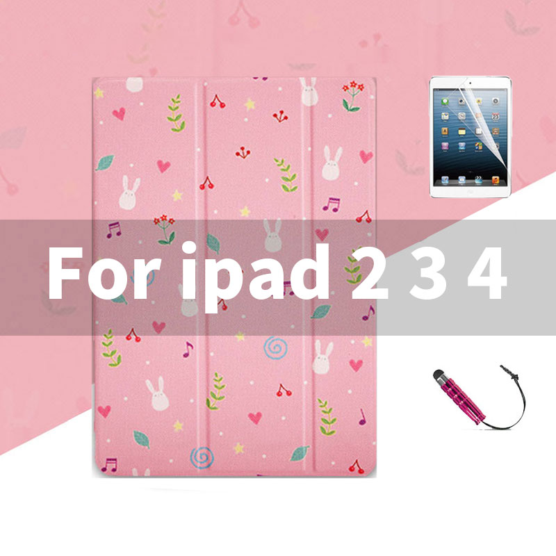ipad 2 3 4 Lovely pink pattern case wit 3stand for iPad 2,3,4, Mini 1,2,3,4, Air 1,2, 2018, 2017,