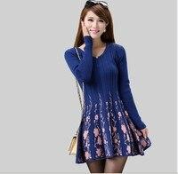 Spring and autumn jacquard women's medium long skirt sweater dress