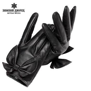 Nowe modne skórzane rękawiczki skóra naturalna bawełna dla dorosłych jesień krótkie rękawiczki czarna kokarda modne damskie rękawiczki tanie i dobre opinie WINTER PALACE Kobiety COTTON Stałe Nadgarstek Moda 7276 Leather Gloves Full Finger leather gloves men sexy gloves sensory gloves