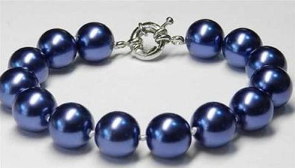 Hot sale new Style >>>>>Charming!12mm Blue Sea Shell Pearl Bracelet 7.5''AAA