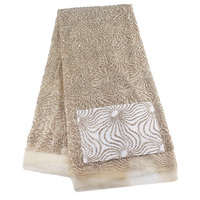 Nice Gold Tulle Party Dress Lace Fabric For African Women Mesh Embroidery Lace Fabric 5 Yards