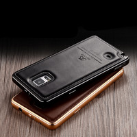 Original Luxuxy Genuine Leather Back Cover Aluminum Metal Frame Bumper Phone Full Protection Case For Samsung