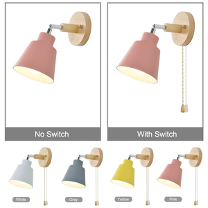 Image 4 - Nordic  indoor  wooden wall lamp bedsideE27 sconce wall light for bedroom corridor 4 color with zip switch Freely rotatable