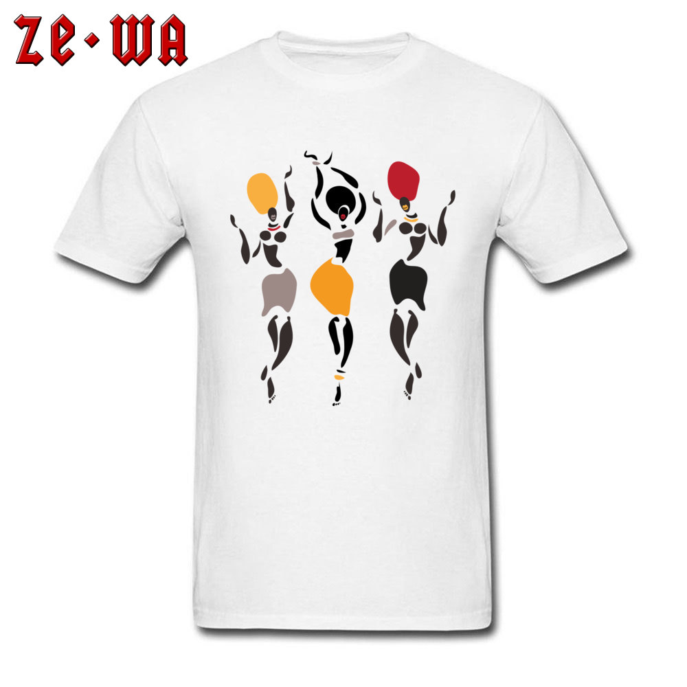 Exotic Style T-shirt Men White Tshirt African Dancers Silhouette T Shirt Art Design Woman 100% Cotton Tops Tees Mother Day Gift