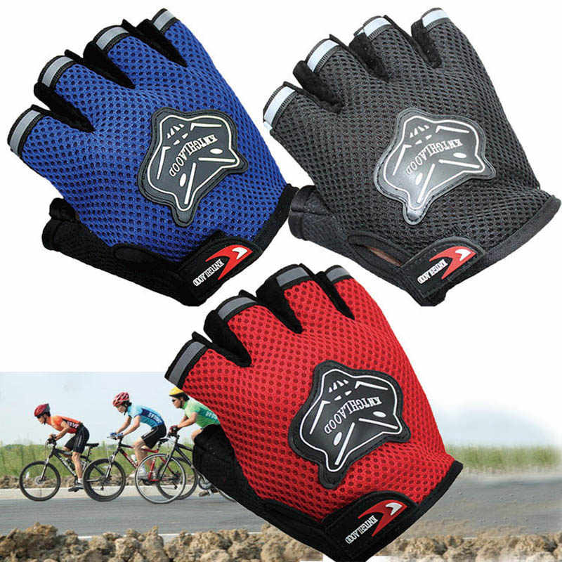 Children Kids Bike Gloves Half Finger Breathable Anti-slip For Sports Riding Cycling 19ing