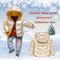 Детский зимний комбинезон 2018 детская зимняя одежда металлический пуховик с капюшоном для маленьких девочек зимние парки пальто для мальчи...
