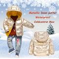 Baby schneeanzug 2018 kinder Winter Kleidung Metallic Unten Puffer Mit Kapuze Baby mädchen Winter Parkas junge Mantel Wasserdichte oberbekleidung