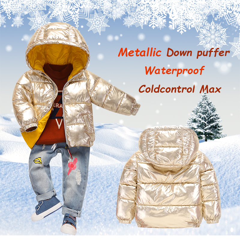 791496e55 Baby snowsuit 2018 Children's Winter Clothes Metallic Down Puffer Hooded  Baby girl Winter Parkas boy Coat Waterproof outerwear