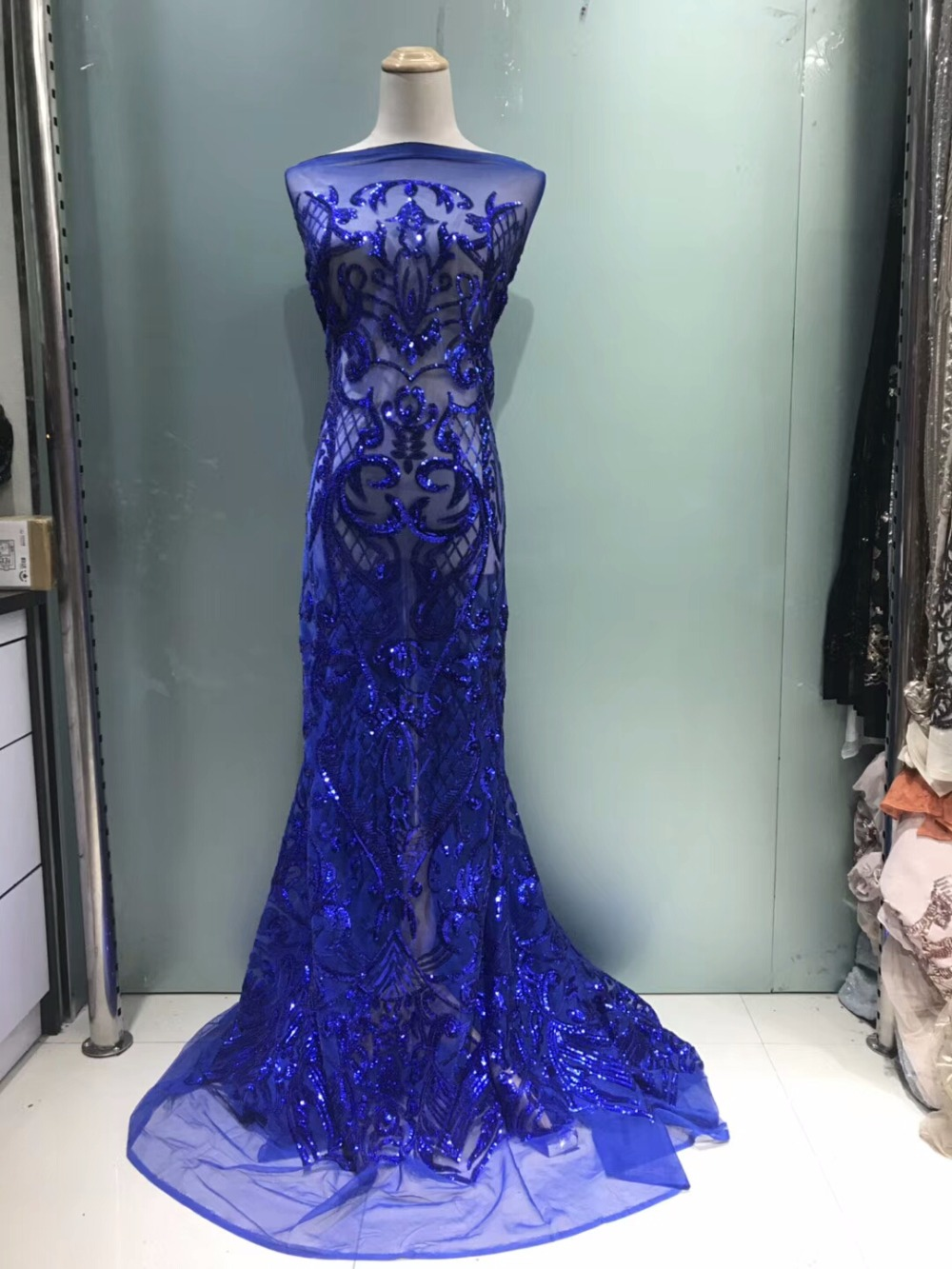 beautiful lace fabric with sequins high class net tulle lace fabric with sequins nice sequins lace for party dress  JLm162