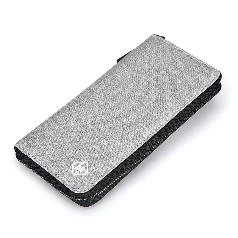 Men Wallets Slim Business Coin Pocket walet Zipper Credit Holders Hk Long Purse Fashion Clutch Bags Male Black Grey Money Clip