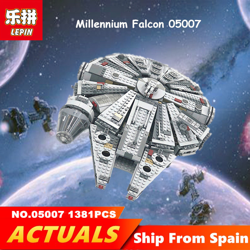 Lepin 05007 1381PCS Star Wars Building Bricks Millennium Falcon Compatible technic Legoingly 75105 Toys for children Blocks игровой набор mattel star wars tie fighter vs millennium falcon 2 предмета cgw90