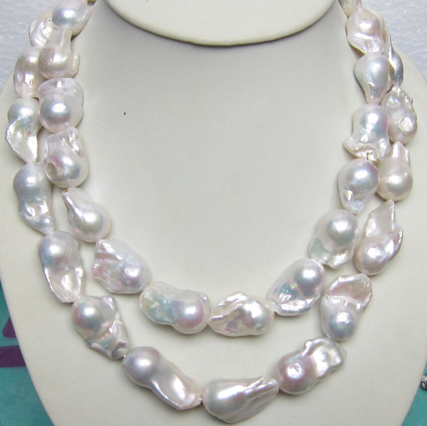 HUGE 15-28MM SOUTH SEA GENUINE WHITE BAROQUE PEARL NECKLACE 34 INCH 14KGP CLASP