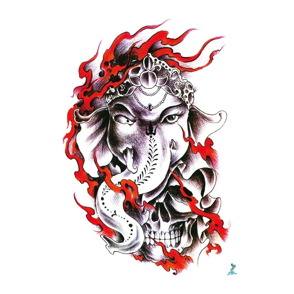 Yeeech Temporary Tattoos Sticker for Women Men Fake Animal Elephant God Skull Designs Large Arm Leg Back Body Art Waterproof
