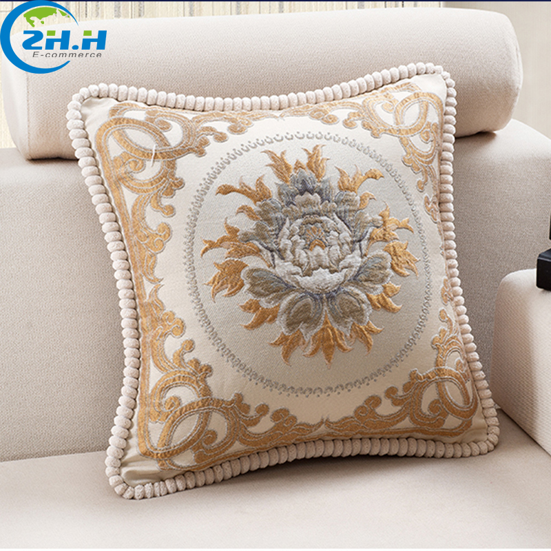 European Style Luxury Sofa Decorative Throw Pillows Cushion Home Decor Cojine Decorative custom Brand Embroidered Cushion Pillow