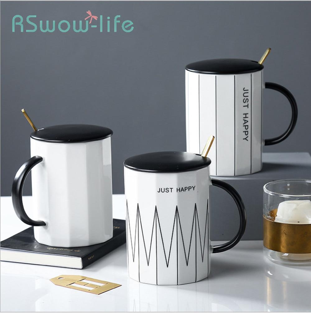 Modern Minimalist Ceramic Mug Coffee Cup Breakfast Home Daily Creative With Lid Spoon For Drinkware