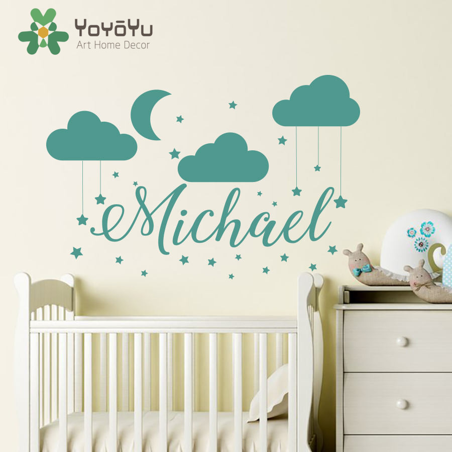 Name wall decal baby nursery custom name bedroom clouds for Baby name decoration