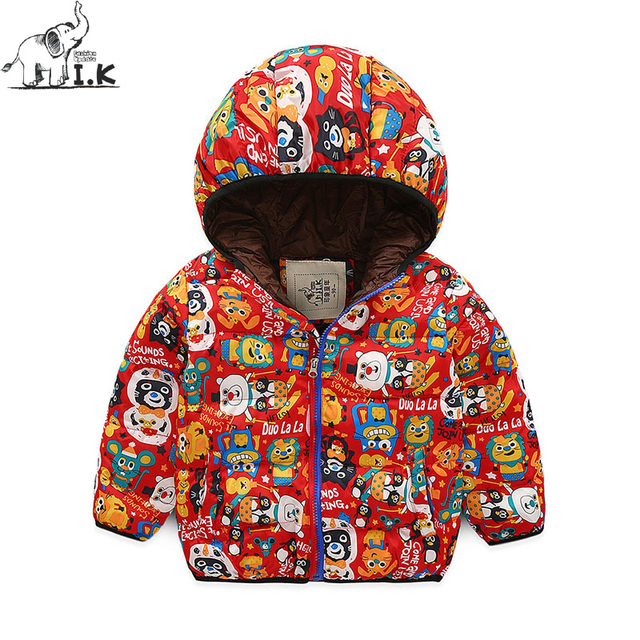 b515bcc1 Boys Winter new warm padded print hoodie jacket Baby Kids fashion quilted  clothes Infant children cotton coats MY25006 Christmas