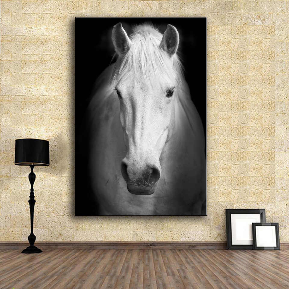AAVV Wall Art Prints Fine Art Prints Wall painting White horse (2) Animal Picture For Living Room no frame