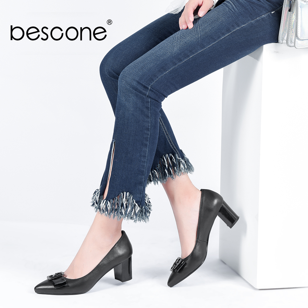 BESCONE Elegant Black Women Work Shoes Spring Square Heels Genuine Leather Pumps Pointed Toe Metal Decoration